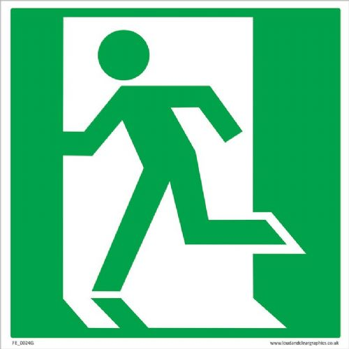 Fire Exit Running man left Health & Safety Sign